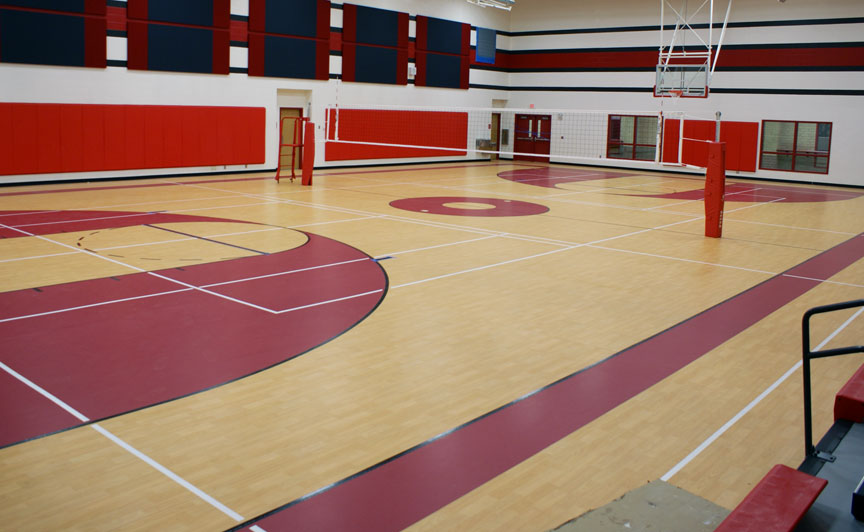 Gym flooring gym floor options for athletic facilities for Indoor basketball court flooring cost