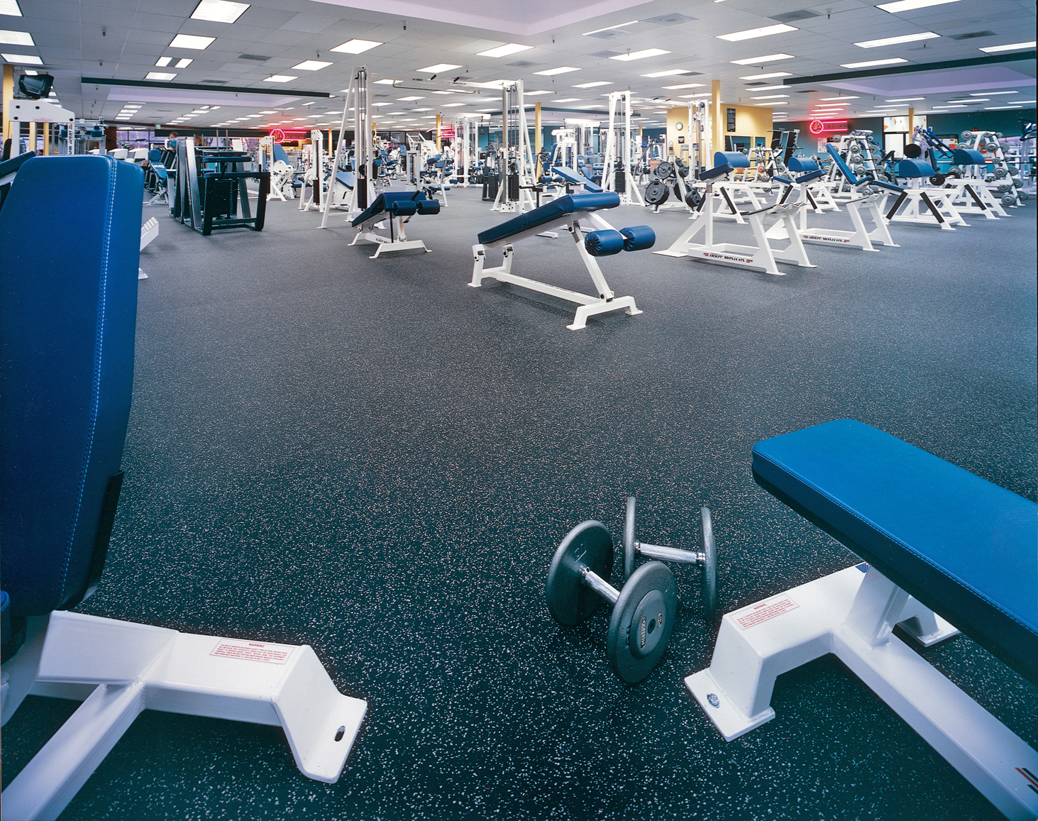 Weight room flooring rubber rolls modular tiles & health club floors